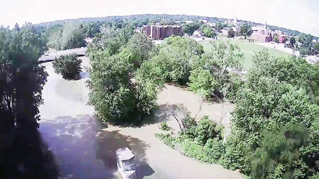Pictured is a view of the flooded Great Miami River looking from the direction of Custenborder Field. Jackson Towers can be seen in the top center. While water levels had gone down as of Wednesday afternoon, more rain is in the forecast.