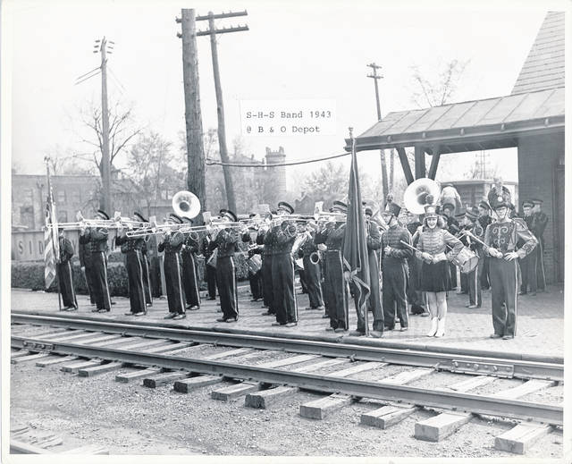 The Sidney High School band performed at the B&O Depot in 1943.