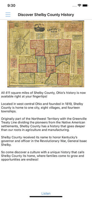 "This is one of the screens found on the ""Discover Shelby County History"" app."