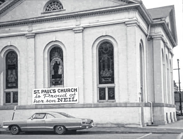 This is a photo of St. Paul United Church of Christ in Wapakoneta from the 1969 when Neil Armstrong walked on the moon.