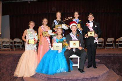 Victoria Wuebker and Jacob Wuebker (seated) will serve as the 2019 Junior Fair Queen and King. Their court includes (from left to right) Emma Peters, Deanna Hesson, Jessica Langenkamp, Ian Gehret and Nicholas Colby.
