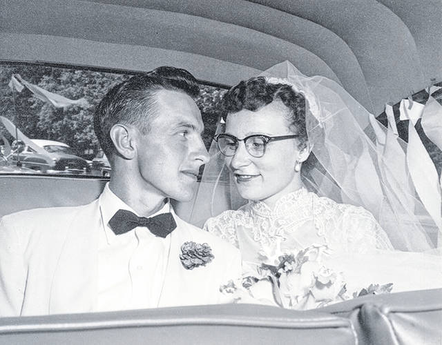Virgil and Martha Arling, wedding day 1954