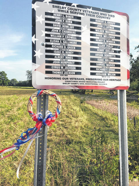 The Shelby County Vets to DC project of placing signs at bridges in the county honoring Shelby County residents who lost their lives defending the United States is almost complete. This sign is located in Washington Township at the Turtle Creek bridge.