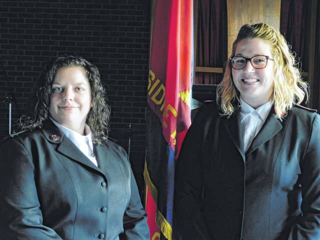 Capt. Samantha Lockard, left, and Lt. Katie Mayes have assumed leadership at the Sidney/Shelby County Salvation Army.