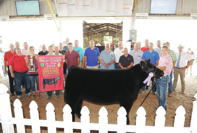 Hayden Huelskamp, 13, of Anna, son of Tonya and Chad Huelskamp, member of Anna Livestock, sells his reserve grand champion market steer at the Shelby County Fair on Saturday, July 27.