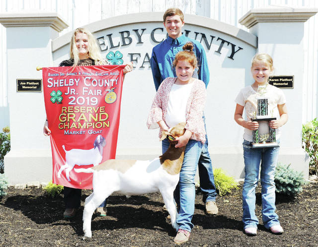 Norah Homan, 11, of Botkins, daughter of Fred and Billie Homan, member of Botkins Livestock won reserve grand champion market goat and reserve grand champion born and raised goat at the Shelby County Fair. With her are her siblings, left to right, Grace Homan, 18, Denton Homan, 17, and Mae Homan, 8.