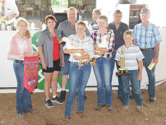 Addison Brewer, 17, of Anna, daughter of Nykole and Ryan Brewer, a member of Shamrock Stitchers, sells her reserve grand champion meat pen of ducks at the Shelby County Fair on Friday, July July 27. The ducks sold for $1,050 and was purchased by four buyers.