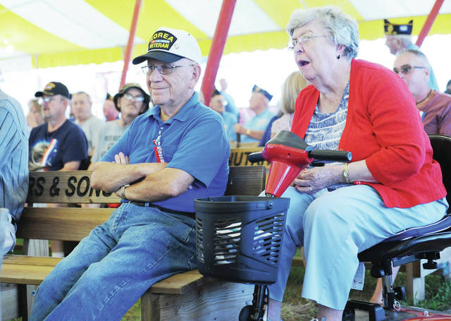Korean War veteran Harold Covault attends the Shelby County Fair Veterans Program with his wife Kathleen Covault at the Shelby County Fair on Monday, July 22. Covault served in the U.S. Army from 1953 to 1954.