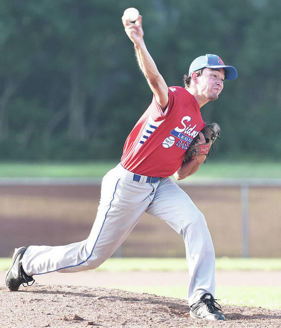 Sidney Post 217's Zach Griesdorn pitches during a Region 2 American Legion tournament game against Piqua Post 184 on Saturday at Duke Park in Troy.