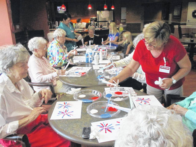 "<p class=""x_MsoNormal"">What does everyone think of on the Fourth of July? Fireworks. Residents of Elmwood Assisted Living of New Bremen made their own fireworks on paper with paint and straws."