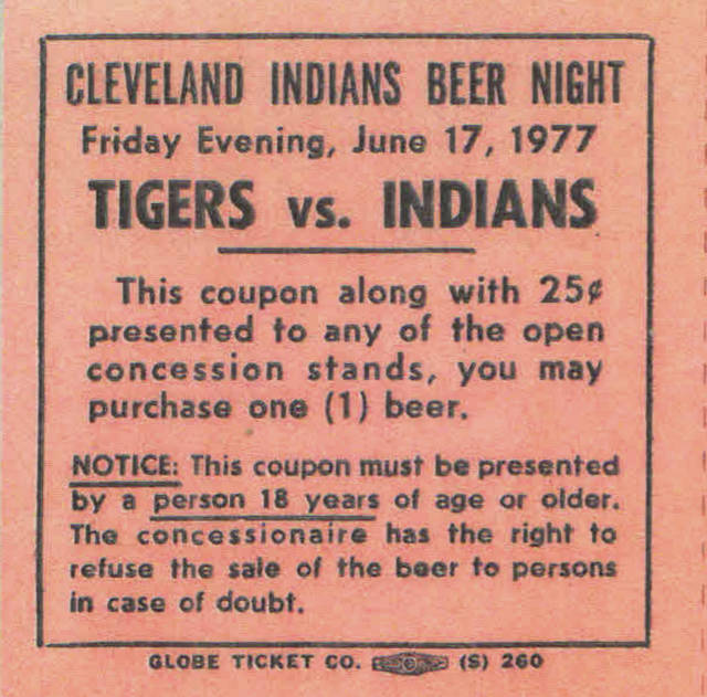 Bruce Bernhold of Minster still has his four beer coupons from 1977, one of which is pictured. The price was right but many went unused due to long lines.