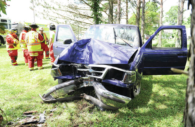 A pickup truck ran over a mailbox and then ran head on into a tree at 10811 Tawawa-Maplewood Road near Maplewood at 2:18 p.m. on Wednesday, July 17. No other vehicles were involved in the crash. Only the driver was in the vehicle. The Shelby County Sheriff's Office is investigating the crash. The Maplewood Fire Department and Anna and Perry Port Salem Rescue Squads also responded to the scene.