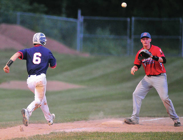 Sidney third baseman Jarred Seigle takes a throw as Piqua Post 1184 base runner Howie Ludwig goes back to third base.