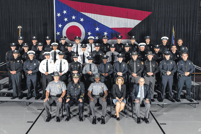 Pictured is the 142nd Basic Peace Officer Class of which 36 members received training certificates during a graduation ceremony held Friday afternoon, June 28, at the Ohio State Highway Patrol Training Academy in Columbus.