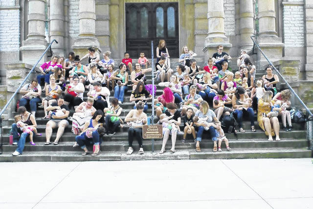 More than 45 breastfeeding moms took part in the 2018 Big Latch On. This year's event will be held Saturday, Aug. 3, on courtsquare in downtown Sidney.