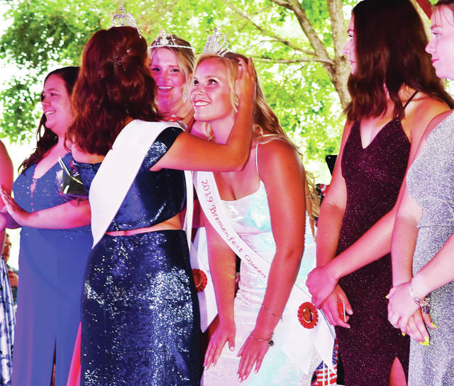 Hannah Kramer, 17, of New Bremen, daughter of Diane and Doug Kramer, is crowned the 2019 Bremenfest Queen on Friday, Aug. 16.