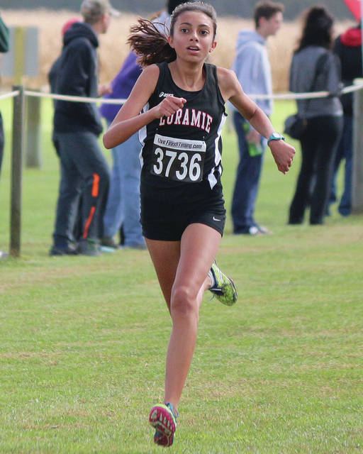Fort Loramie's Olivia Borchers runs in the Division III girls race during the district meet on Oct. 20, 2018 in Cedarville. Borchers, a sophomore, finished ninth in the state Div. III girls race last year.