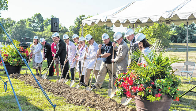 Upper Valley Medical Center broke ground Aug. 7 on an addition on the south side of the hospital to provide for expansion of the cardiopulmonary rehabilitation program.