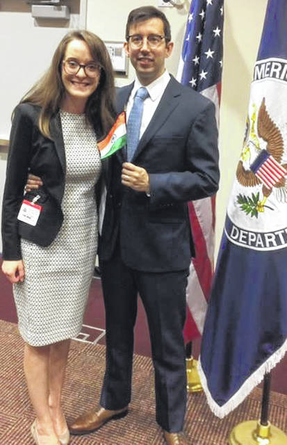 Michael Anthony, right, has worked toward a career in international relations since he was a 16-year-old student at Fort Loramie High School. He is pictured with his wife, Kendall McCabe Anthony.