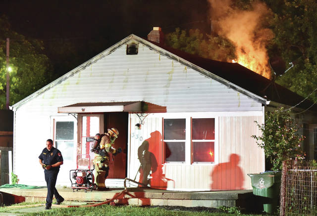 Sidney firefighters battled a house fire at 330 Linden Avenue around 10 p.m. Tuesday, Aug. 7.