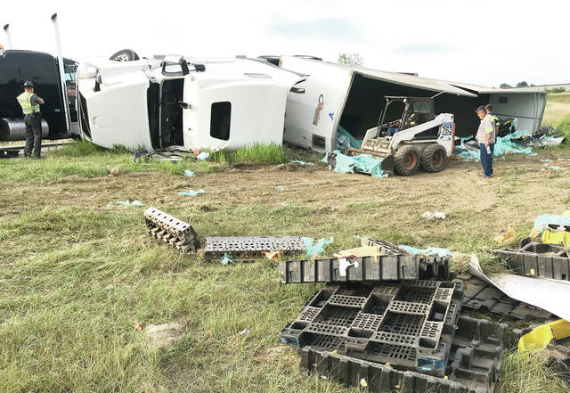 A semitrailer flipped over while taking the southbound Interstate 75 exit 90 at 5:35 p.m. on Sunday, Aug. 11. The driver, Jasroop Singh Briar, 34, of Brampton, Ontario, who refused to be transported to the hospital, was cited with failure to control. The exit ramp was closed for almost two hours Sunday evening.