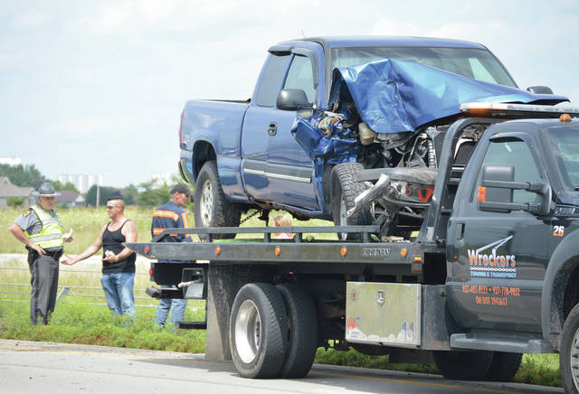 Two pickup trucks and a semi trailer were involved in a crash in the southbound lanes of I 75 just south of exit 90 at 1:30 p.m. on Friday, Aug. 16. The Ohio State Highway Patrol is investigating.