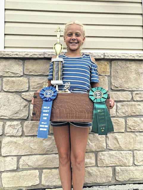 """Tessa Boerger,10, won Outstanding of the Day, Best Overall and was a state fair participant for """"Measuring Up"""" category in Woodworking. She is the daughter of Kevin and Gina Boerger, of Fort Loramie. She is a first-year member of Merry Mod Makers 4-H Club."""