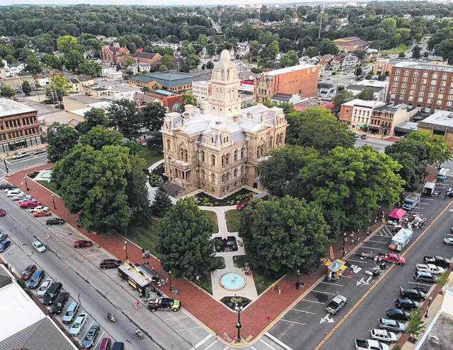 Pictured is an aerial view of downtown Sidney during The Great Downtown Sidney BBQfest held in June.