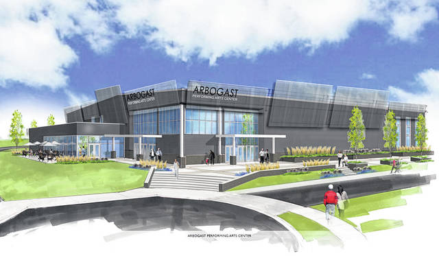 An artist's rending of the Arbogast Performing Arts Center, or APAC, will be a 39,000-square-foot facility featuring a 1,200 seat auditorium located on the Troy Christian Schools campus on Dorset Road.