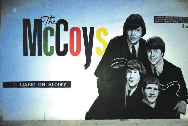 "In the same year this band performed in Sidney, ""Hang On Sloopy"" went to the top of the charts. The group is commemorated on this mural in their original home of Union City, Indiana. Leader Rick Zehringer is at the far right."