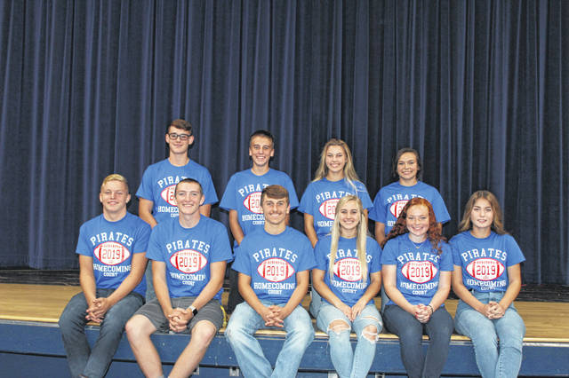 Members of the Riverside High School homecoming court are, front row, left to right, Junior Ethan Burrows, Senior Justin Ritzma, King Jeffery Wren, Queen Jordyn Marshall, Senior Lauren Johnson and Junior Alli McKee; and back row, Freshman Walker Whitaker, Sophomore Jayden Burchett, Sophomore Mia Stallard and Freshman Jade Copas.
