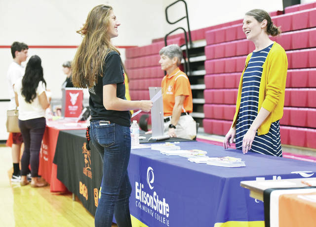 Reece Boerger, left, 16, of Fort Loramie, daughter of Craig and Lisa Boerger, talks with Edison State Community College Enrollment Manager Christina Raterman, of Sidney, at the Shelby County College Fair. The fair was held at Fort Loramie High School on Wednesday, Sept. 11. Kids could peruse an gym filled with different college representatives from all over the state. Also at the college fair were representatives of the Raeburn E. Barnes Trust student load program which has been giving Shelby County students substantial college loans since 1983. Shelby County students interested can call 937-492-7213.