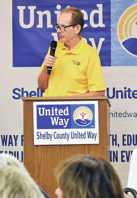 Dean Weinert, Shelby County United Way Campaign chair, speaks at the Shelby County United Way kickoff luncheon for the 2019 United Way Fund raising Campaign held Thursday, Sept. 12, at The Palazzo in Botkins