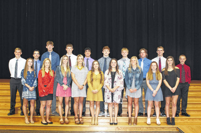 Members of the Versailles High School homecoming court are, front row, left to right, Allison Mangen, Lucy Prakel, Hannah Barga, Danielle Kunk, Ellie Barga, Kaia Kruckeberg, Olivia Waymire, Chloe Grillot and Tessa Stammen; and back row, Jacob Treon, Ian Gehret, Austin Toner, Ryan Martin, Hunter Trump, Cael Bey, Michael Stammen, Nathan Wagner and Jack Detrick.