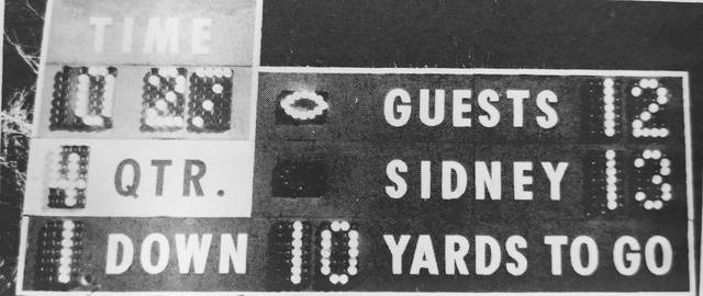 "After Lima Shawnee ran out of downs, all that remained was for the scoreboard to indicate ""first and ten"" Sidney and for QB Bruce Williams to take a knee twice to end this dramatic middle chapter of 30 and 0."