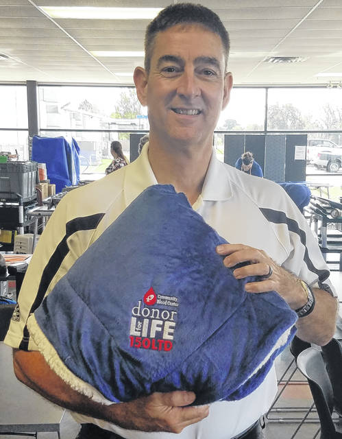 Sidney blood donor David Loewer made his 150th lifetime donation Sept. 12 at the Midmark Corp. blood drive.