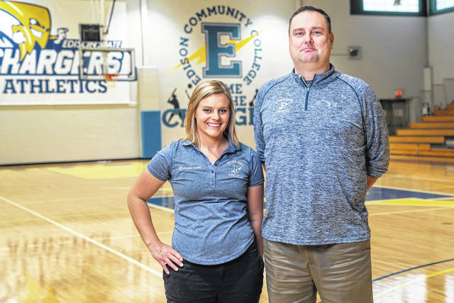 Erin Schmerge, left, Premier Heath athletic trainer, works closely with Nate Cole, Edison State Community College athletic director, on ensuring needs of Edison State's athletes are met.