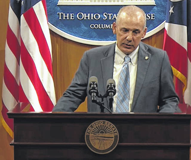 State Sen. Matt Huffman, R-Lima, speaks about the Ohio Citizen Participation Act on Tuesday in Columbus.