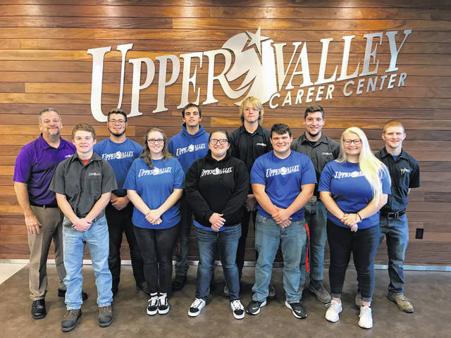 Pictured are Upper Valley Career Center students who are participating in the exchange and hosting a German apprenticeship student. Pictured are Randy Anthony (welding technologies), Nick Barhorst (manufacturing and machining technologies), Dustin Billing (manufacturing and machining technologies), Bret Bruns (electrical trades), Andrew Fogt (pre-engineering and design), Kevin Gushing (electrical trades), Katherine Hanes (pre-engineering and design), Olivia Jones (pre-engineering and design), Ethan Reed (pre-engineering and design), Rosalyn Weymer (interactive media) and Apprenticeship Coordinator Tony Trapp.
