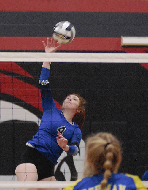 Fairlawn's Jessica Abke serves during a Division IV district semifinal on Tuesday in Covington. Abke had 18 kills for the Jets in their 3-2 upset defeat of Lehman Catholic.