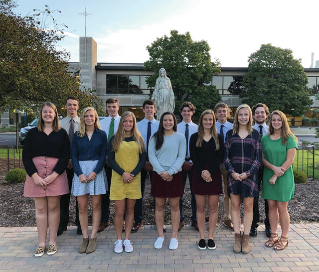 Members of the 2019 Lehman Catholic High School homecoming court are, back row, left to right, Gabe Knapke, Danny Lins, Brendan O'Leary, Ethan Potts, Chris Goettemoeller and RJ Bertini; and front row, Ann Deafenbaugh, Lyndsey Jones, Olivia Monnin, Lauren McFarland, Rylie McIver, Ava Behr and Hope Anthony. Not pictured is Mikey Rossman.