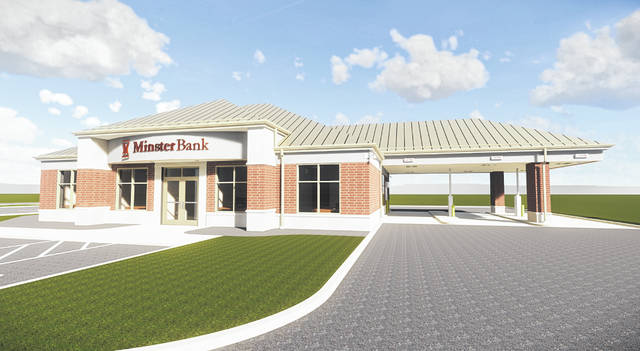 Minster Bank's new office in Vandalia is depicted. The office is scheduled to open in the summer of 2020.