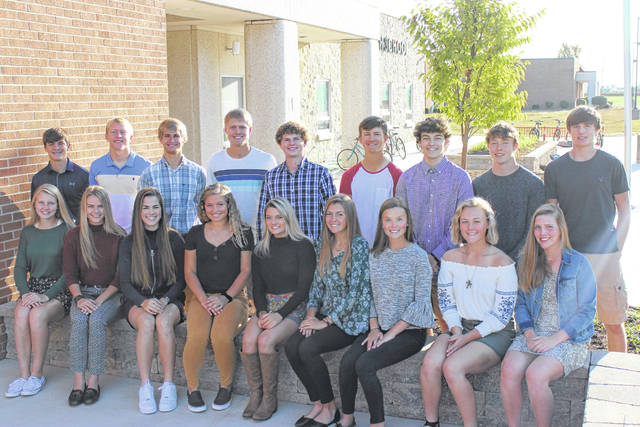 Members of the Minster High School Homecoming Court, back row, left to right, Brady Wolf, Trent Roetgerman, Devon Schultz, Ben Wuebker, Spencer Prenger, Grant Koenig, David Gabel, Colton Robbins, and Bryan Falk; front row, Jaylyn Albers, Josie Winner, Averi Wolf, Kaitlyn Wolf, Mara Schmiesing, Gwen Meiring, Courtney Kemper, Emma Goubeaux and Kate Larger.