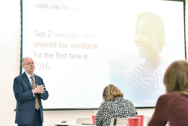 Chief Human Resources Officer of Randstad North America Jim Link, of Atlanta, talks about Generation Z entering the workforce and the best ways for employers to interact with them Wednesday morning, Oct. 16, at Amos Memorial Public Library.