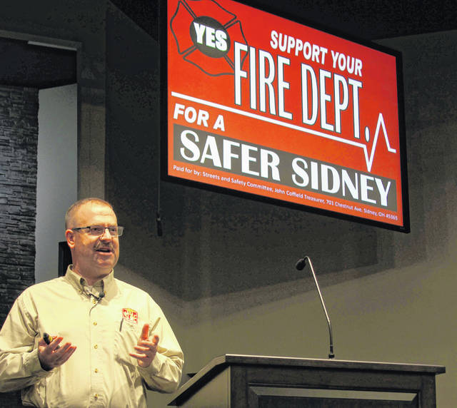 Sidney Fire Chief Bradley Jones talks about the upcoming fire levy during a town hall meeting Tuesday.