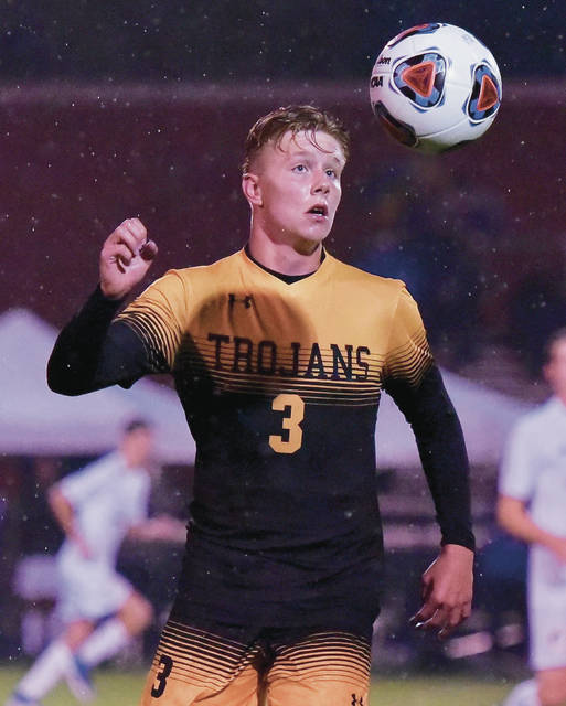 Sidney's Zane Paul gets ball control during a Division III regional semifinal on Wednesday at Fairmont Park in Kettering. Paul scored the game's only goal on a header.