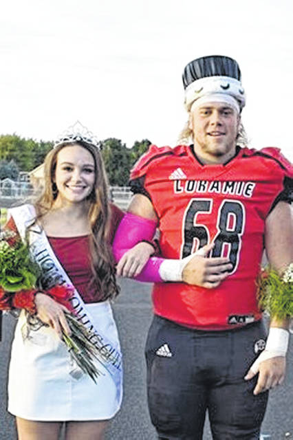 Fort Loramie High School homecoming king and queen were crowned Friday night. Taylor Ratermann was crowned queen, while Griffin Meyer was crowned king.