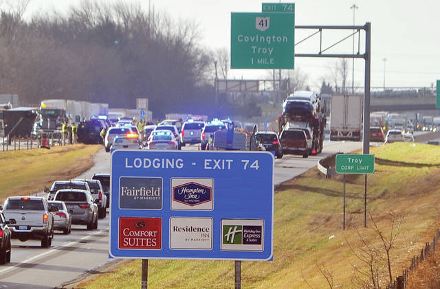 A large traffic backup on I-75 just north of Troy following a multi-vehicle crash on Wednesday morning in which an Ohio State Highway Patrol employee died.
