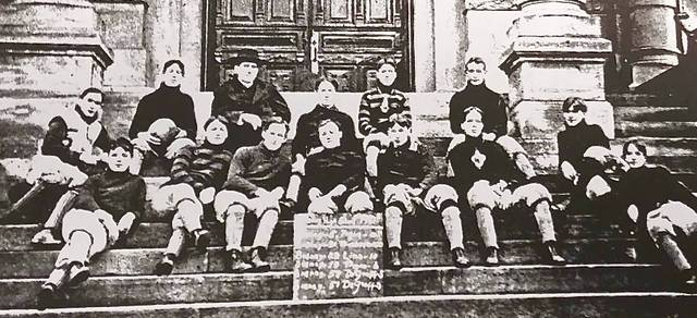 The 1901 Sidney High School football team. Coach Thomas Hazzard is in the top row wearing a hat.