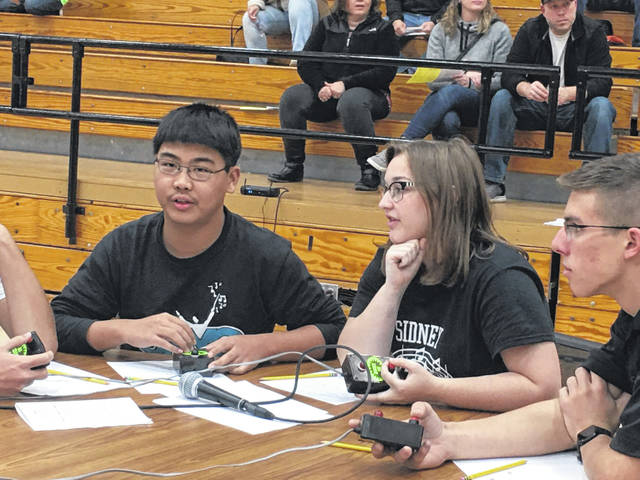Nobel Zhou and Whitney Petty, of Sidney, represent Sidney High School in a 2019 Academia tournament.